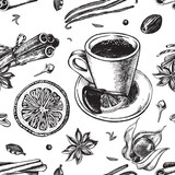 Seamless pattern with hand-drawn hot chocolate, candied fruit and spices. Vector illustration. - 138345940