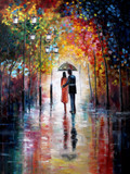 Fototapety Original oil painting on canvas - Lovers under umbrella - Modern Art