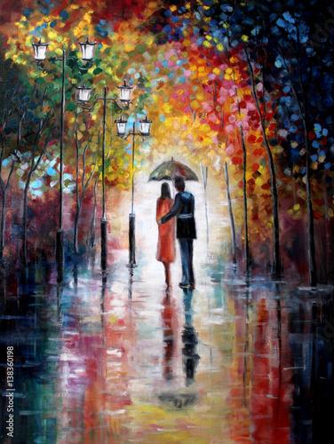 oryginalny-obraz-olejny-na-plotnie-milosnicy-pod-parasolem-sztuka-wspolczesna