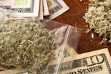 Bag of marijuana or weed on dollars. Drug trading concept. - 138360311
