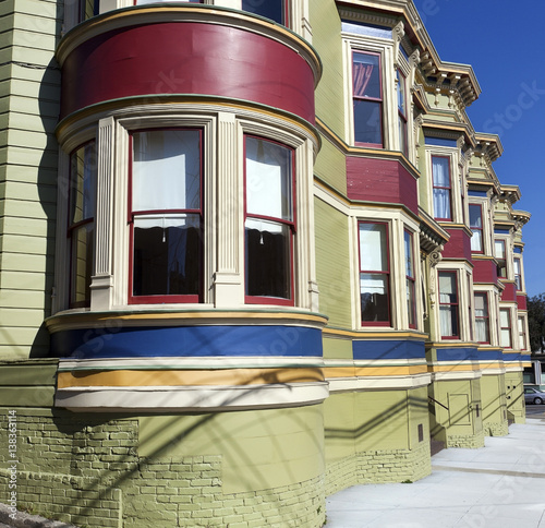 Vintage San Francisco Victorian Style Apartment Building With Traditional Bay Windows