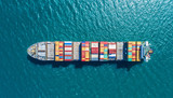 container ship in import export and business logistic.By crane ,Trade Port , Shipping.cargo to harbor.Aerial view.Water transport.International.Shell Marine.Top view. - 138363919