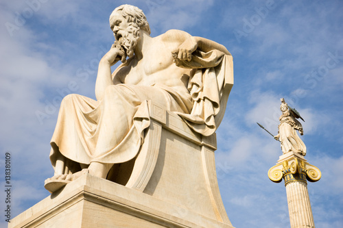 Staande foto Athene Marble statue of the ancient Greek Philosopher Socrates.
