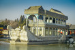 BEIJING, CHINA - 29 JANUARY, 2017: Stone house designed as houseboat sitting waterfront, inside spring palace complex, a spectacular ensemble of lakes, gardens and ancient chinese palaces, beautiful