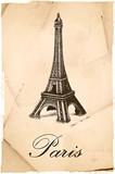 Fototapeta Eiffel Tower - Paryż / Wieża Eiffla / retro pocztówka © piaskun_