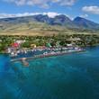 Aerial View - Lahaina Harbor - Island of Maui, Hawaii