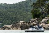 Sea water jet ski in beach bay island Koh Phangan thailand ocean jetski