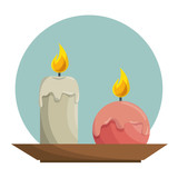 candle aroma teraphy spa vector illustration design