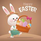 happy easter card bunny carrying basket egg vector illustration eps 10