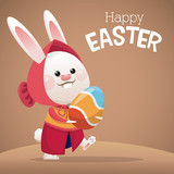 happy easter card cute girl bunny egg vector illustration eps 10