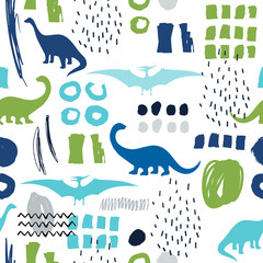 Seamless pattern with cartoon dinosaurs. For cards, party, banners, and children room decoration. © Olga