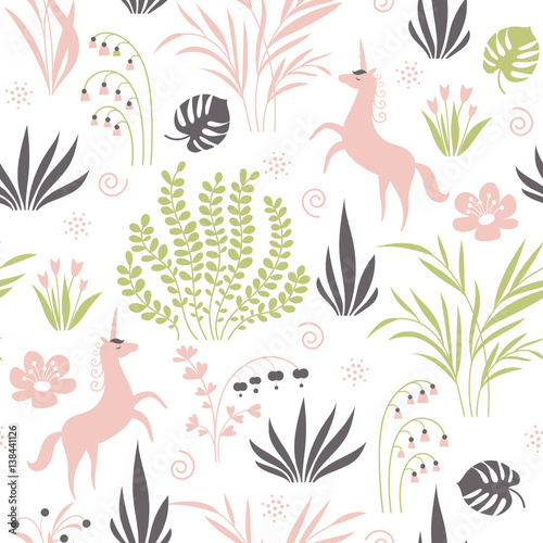 Cotton fabric seamless pattern with plants and unicorns