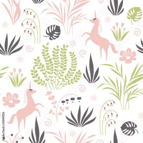Cotton fabric seamless pattern with plants and unicorns
