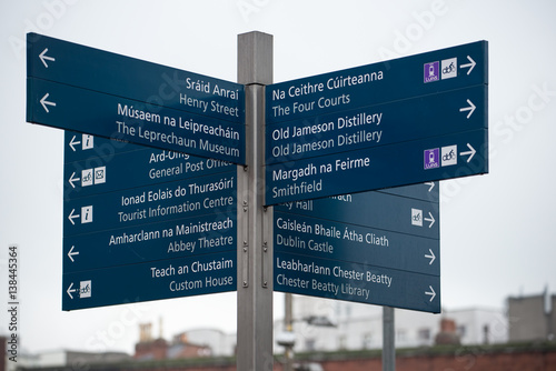 Dublin, Ireland - February 14, 2017: Bilingual direction signs to the famous tou Poster