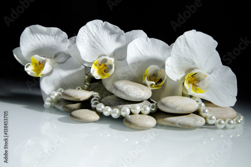 Papiers peints Spa white orchids and pearls lie on the rocks