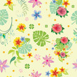 Cotton fabric Seamless pattern with decorative plants