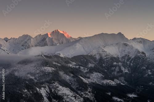 Winter Tatra mountains, Lodowy Szczyt (Ice Peak) in High Tatra mountain range