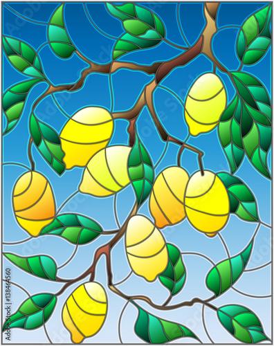 ilustracja-w-stylu-witraza-z-galezi-drzewa-cytrynowego-galezi-owocow-i-lisci-na-tle-nieba