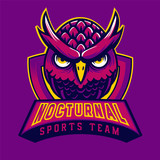 Owl mascot logo purple