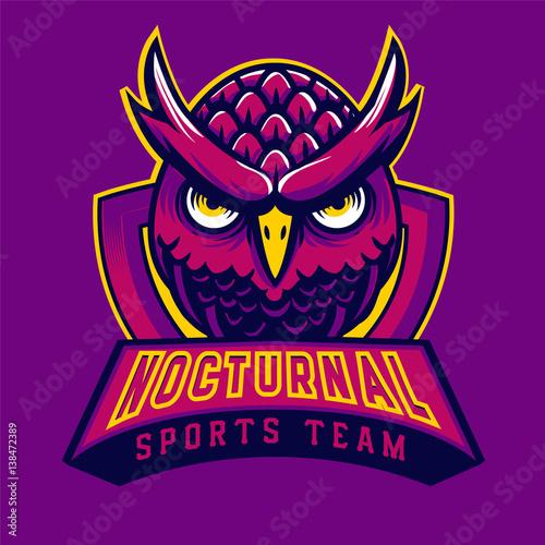 Owl mascot logo purple