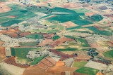 aerial of countryside and fields around madrid