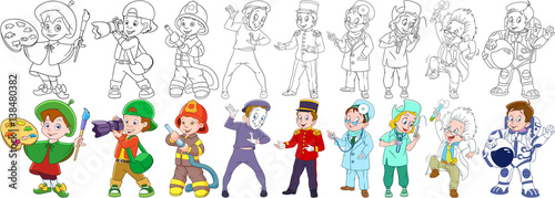 Collection of professions. Painter, photographer, firefighter (fireman), mime actor, porter (bellboy), nurse, doctor, scientist, astronaut (spaceman, cosmonaut). Coloring book pages for kids.