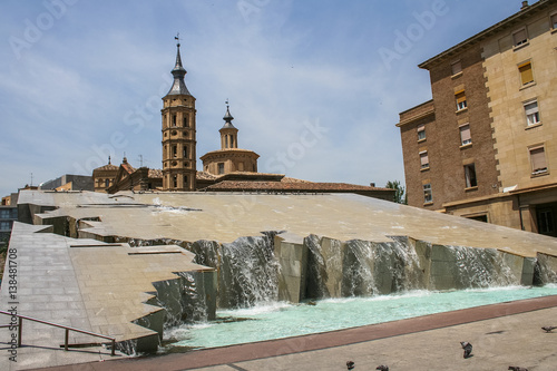 Fountain-waterfall Hispanidad in Spain. May 2006.
