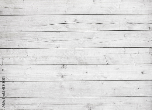 White wooden planks, tabletop, floor surface or wall.