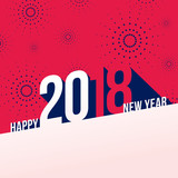 Fototapety Vector illustration of  fireworks. Happy new year 2018 theme
