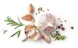 Fototapety garlic and herbs on white background