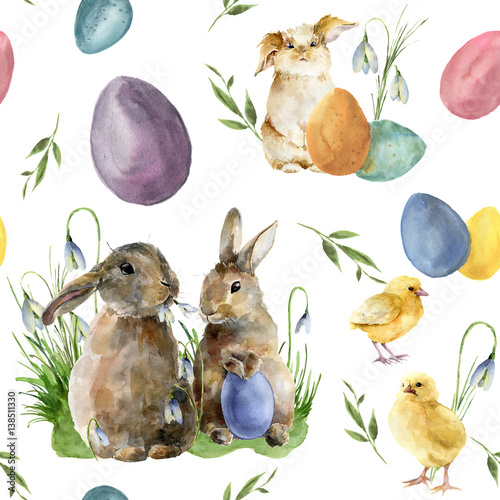 Materiał do szycia Watercolor easter pattern with rabbit and chick. Holiday ornament with bunny, bird, colored eggs and snowdrops isolated on white background. Nature illustration for design or fabric.