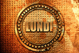 French text lundi on grunge metal background, 3D rendering