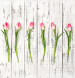 Fresh spring tulip flowers Floral flat lay Bouquet - 138512928