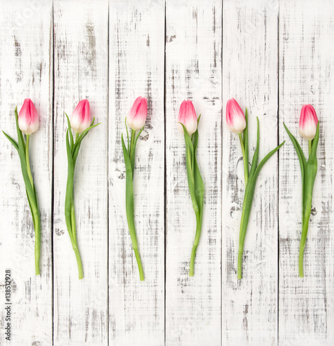 Fresh spring tulip flowers Floral flat lay Bouquet