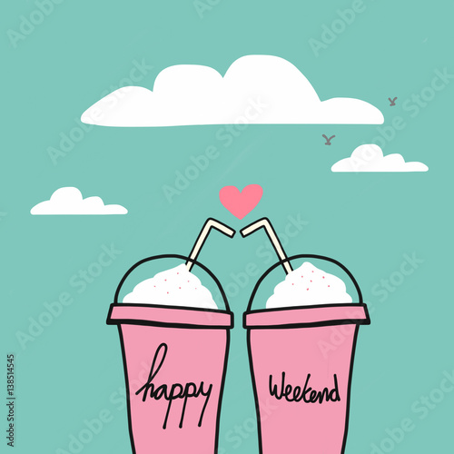 Happy weekend word on couple drink pink cups watercolor illustration on blue sky Poster