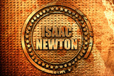 isaac newton, 3D rendering, metal text