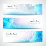 Vector Banner Abstract geometric background. Template brochure design. Blue hexagon shape