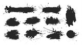 Black ink spots set on white background. Ink illustration. - 138555532