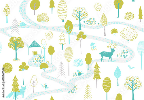 Cotton fabric Forest pattern with deer, fox and small house. Seamless texture with cute hand drawn illustrations of trees and animals.