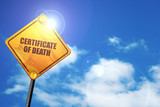 certificate of death, 3D rendering, traffic sign