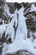 Icicles on a wall of rock