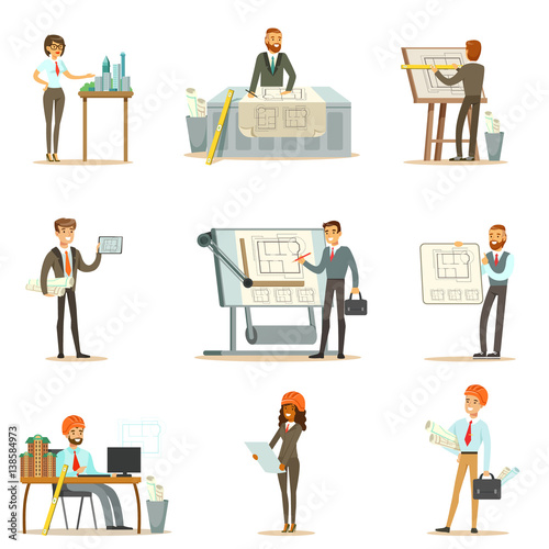 Fototapeta Architect Profession Set Of Vector Illustrations With Architects Designing Projects And Blueprints For Building Construction
