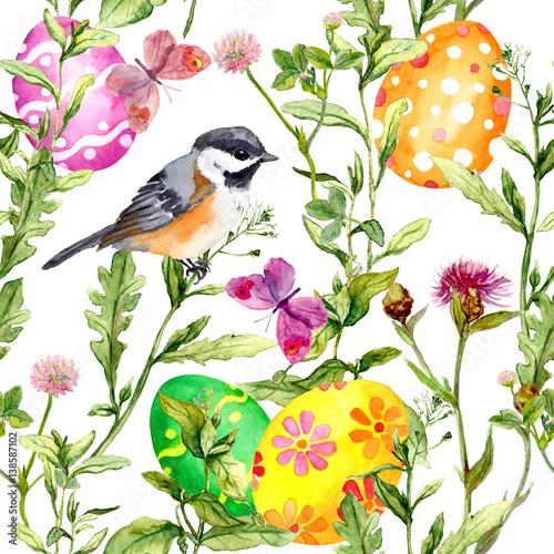Cotton fabric Easter eggs in grass. Seamless pattern - cute bird, flowers, butterflies. Watercolor