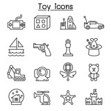 Toy icon set in thin line style