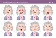Set of grandma facial emotions. Senior female cartoon style character with different expressions. Vector illustration. Set six of six. - 138592588