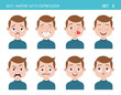 Set of kid facial emotions. Boy cartoon style character with different expressions. Vector illustration. Set six of six. - 138592901