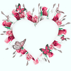 Spring tulips in a heart shape. Floral background of flowers and butterflies.