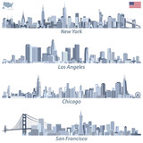 Fototapety abstract vector illustrations of United States city skylines (New York, Chicago, San Francisco and Los Angeles) in tints of blue color palette with map and flag of United States