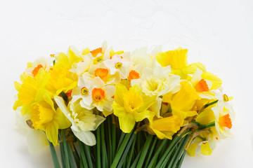 Fresh spring Light and dark yellow daffodils bouquet on white desktop