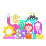 Cheerful Aliens vector illustration